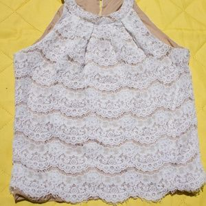 Ivory Lace Overlay Sleeveless Top